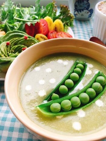 そのままでも美味しいスナップえんどうは、スープにしても◎玉ねぎの甘さも加えて臭みのない仕上がりになります。夏は冷製スープにするのもおすすめです!