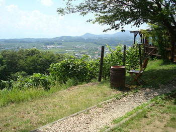 絶景のベンチ席は吹く風が心地よく、幾重にも連なる山並みを眺めることができる特等席です。
