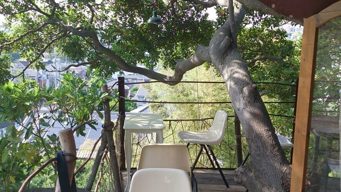 ツリーハウスの外側にあるテラス席は6席。高台にあるなんじゃもんじゃカフェからは横浜の街並みが一望できる素敵な眺め♡  樹の枝や葉っぱもすぐ手の届く場所にあります。