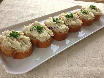 里芋と柚子胡椒のディップでいただくカナッペ。ヘルシーなので、ちょっとお腹がすいたときにもおすすめです。