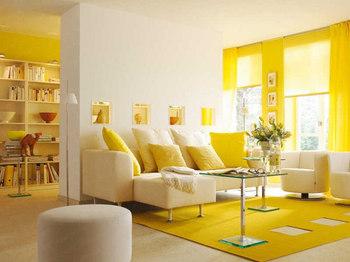 日本ではあまり見かけない黄色をテーマカラーにしたお部屋。