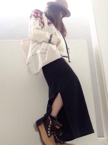 大人女子のコーデにもティンバーランドのブーツはよく合います。