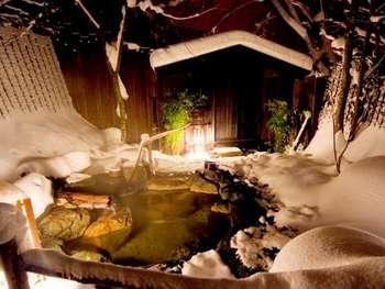 木々が生い茂る中に貸し切り露天風呂もあります。開放感の中、夜空の星眺めながら温泉を存分に満喫することができますね。