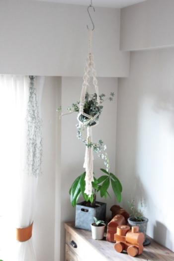 マクラメ編みのプラントハンガーを吊り下げる際は、S字フックなどを使うと比較的場所を選ばずに吊り下げられますよ。