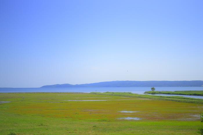 能取岬に隣接し、網走国定公園の一部となっている能取湖は、オホーツク海の海水が流れ込む海跡湖です。