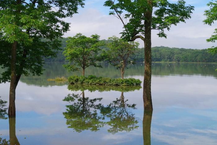 網走を代表する湖、網走湖の面積は約33平方キロメートルに及びます。豊かな緑に囲まれた静かな湖畔は心地よく、鏡のような水面が、周囲の風光明媚な景色を映し出しています。