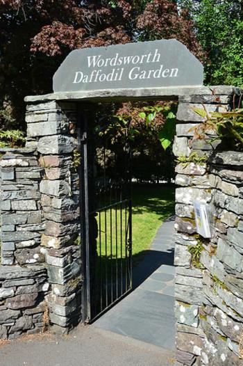 ワーズワースの眠るセント・オズワルド教会(St Oswald's Church)付近に位置する「ワーズワースの水仙の庭」。ワーズワースの名作「水仙」の詩碑の周りに植えられた水仙群は、4月頃に見頃を迎えます。