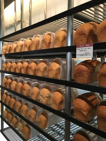 看板商品は4種類の食パンで、オープンな空間にずらりと陳列されています。飾り気がなく、さながら職人さんの工房に入ったようなシンプルさは、まさに「素材で勝負」という雰囲気。