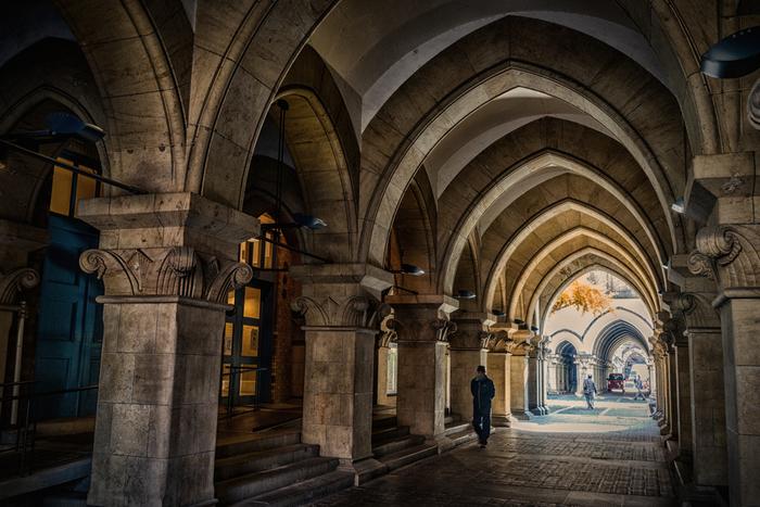 """画像に見られるようなアーチ状のデザインは""""ゴシック様式""""と呼ばれる建築様式ですが、内田が手掛けた建築物は、""""内田ゴシック""""と愛称されています。法文1号館、法文2号館ともに、登録有形文化財に登録されています。"""