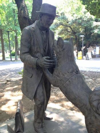 """弥生キャンバスの新名所「上野栄三郎とハチ公の像」。渋谷駅前の銅像でお馴染みの""""ハチ公""""とその飼主・上野栄三郎博士の銅像です。 ハチは、1923(大正12)年に、秋田県大館市生まれの秋田犬。犬好きの博士に大切に育てられた名犬です。"""