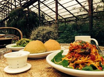 パスタ、ピッツァ、オムライス、カレーを中心に季節の料理が楽しめます。カフェメニューにはハーブティーやハーブを使ったスイーツがあります。