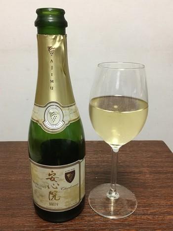 こちらの安心院スパークリングワインはシャルドネ100%で製造されています。味はスッキリした辛口です。