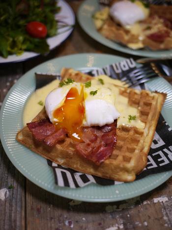 ワッフルでエッグベネディクト。とろとろの卵がおいしそう!おかずにもなるワッフルは優秀です!トーストやパンケーキに飽きたらワッフルに卵をのせてみたい!