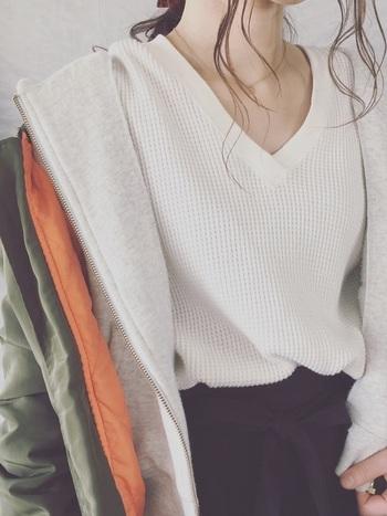 いかがでしたか?ニットよりスッキリと着れるのに保温性があるサーマルは、季節の変わり目にぴったりです。今の時期は重ね着で、春先はシンプルに1枚で、ぜひサーマルをコーディネートに取り入れてみて下さいね。