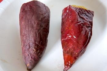 甘くてホクホクした焼き芋がお好みなら、「紅あずま」、「紅乙女」、「紅さつま」、「坂出金時」などが あります♪(写真は紅あずま)