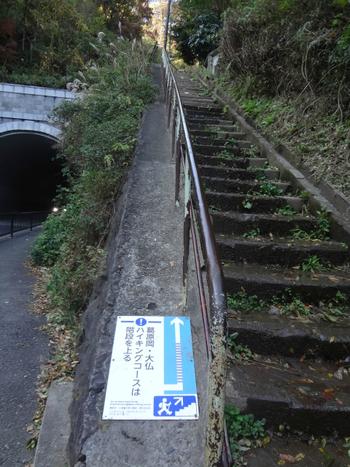 長谷駅から大仏方面に進むとこんな表札があります。この階段を登っていよいよスタートです。