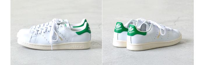 白と緑のコントラストが爽やかなアディダスの定番スニーカー。 大人女子らしく履くなら、デニムをロールアップして、足首チラ見せで♪
