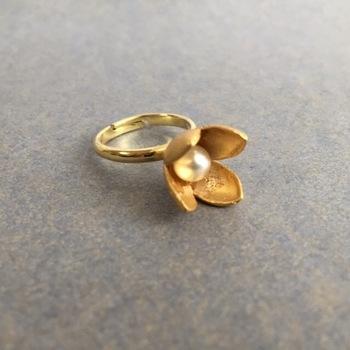 ★ 「アネモネの指輪」・・・アネモネの花びらをモチーフにしたマットゴールドのリング。アネモネの花が少しつぼんだ可愛らしいかたちです。立て詰めの中央にパールを入れた少し重みのあるデザイン。マットゴールドメッキは色変わりも少なく、長く愛用できます。フリーサイズなのでその日の気分によって好きな指に付けて楽しんで!