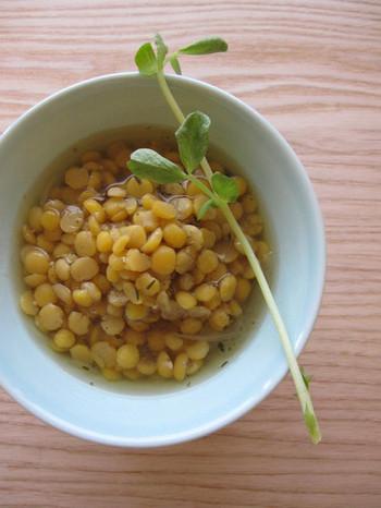 黄えんどう豆の彩りがとてもきれいな、スウェーデンのスープメニュー。コトコト煮込んだスープは、身体があたたまるのでスウェーデンの家庭料理では欠かせない一品です。