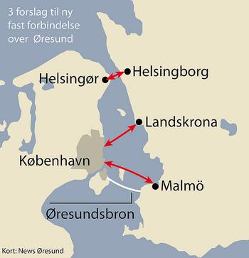 コペンハーゲンとマルメの距離感がよく分かる地図。 こう見ると、とても近く感じられますね。白い線が橋です。  橋を渡るためには、まずは電車の駅までアクセスしてみましょう。