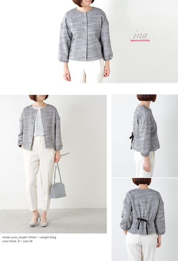 丸襟やリボンのアクセント、手元のシャーリングなど個性的♪ ジャケットが個性を主張しているので、下にシンプルなパンツでも十分目立ちますね。
