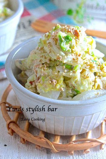 シンプルなのにクセになるおいしさ! 白菜は一度茹でてから使うので、かさが減って、びっくりするくらいたっぷり食べられますよ。