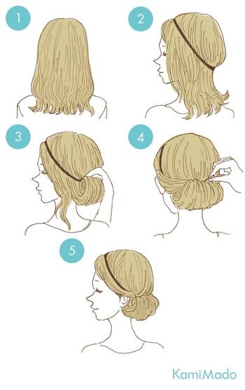 ヘアバンドを使えばとっても簡単にできますよ!後ろの髪を少しずつゴム部分に絡めながら入れ込んでピンで固定するだけ♪