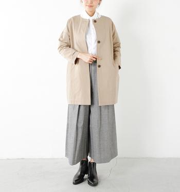 スプリングコートやジャケットを合わせるだけで、また違った雰囲気を楽しめるのがシャツのいいところ。温度調節がしやすいので、寒暖差が激しい春に重宝しますよね。