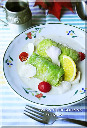 ロールキャベツにココナッツミルクを使うとタイ風に変身!アジアンなロールキャベツのクリーム煮になります♪唐辛子が入っていてちょっとピリっとしているところも特徴☆