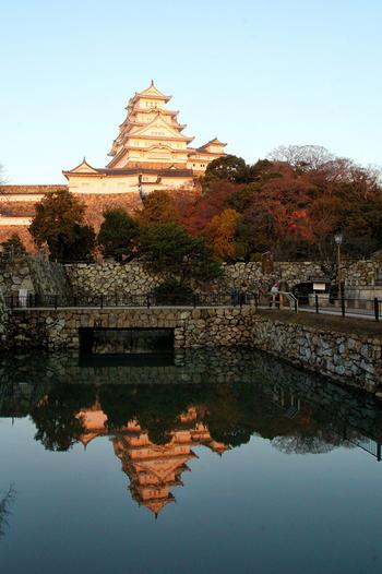 朝日を浴びた姫路城。堀池に移ったお城もピンク色に染まり、とても綺麗です。日が昇るにつれ、ピンクからオレンジに色が変わっていきます。
