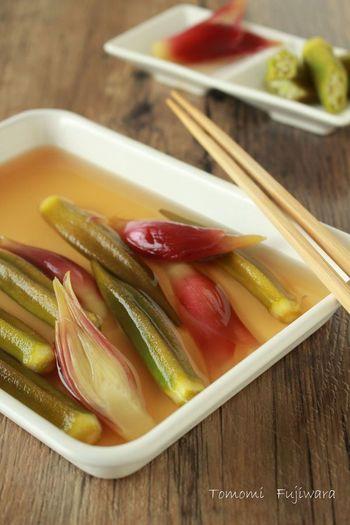 薬味として活躍してくれるみょうがもピクルスにしてしまいましょう! みょうがは酢に漬けるときれいなピンク色に変化するため、ピクルス液もピンク色になるそう。そのため、一緒に漬ける野菜はにんじんやミニトマトといった色の濃い野菜がおすすめです。