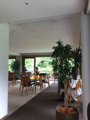 ティーラウンジからは美しい日本庭園を楽しむことができます。眺めているだけでほっと安らぎますね。