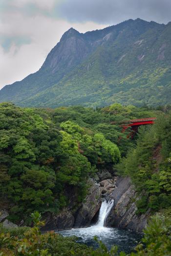 赤い橋、緑の木々とのバランスが素敵な滝です。