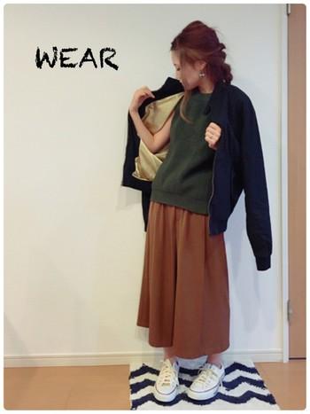 旦那様のジャケット。ジャケットやMA-1はミニマムなものもいいですが、メンズサイズで大きめに着ても可愛いです。