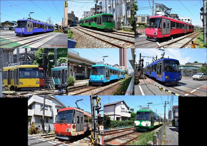 世田谷線は赤、青、緑などカラフルなカラーの車両も特徴です。