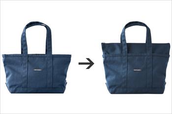 たくさん荷物を入れたい時は、ファスナー部分を外に引き出すことで収納量を増やすことが可能。 お買い物などで、突然荷物が増えても安心です。