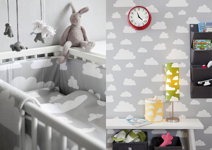 子供部屋もグレーで揃えても素敵ですよ。色は控えめに、柄は子供らしくポップにすれば、海外の子供部屋のようにシックでキュートなお部屋ができますね。