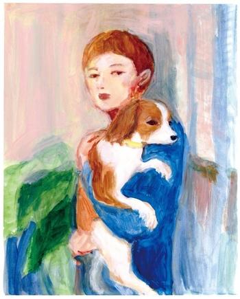 こちらは個展「calm day」のキービジュアルにも使用された絵です。描かれているのは愛犬のあんずさん。 網中さんの作品には、犬や猫、鳥など多くの動物が多く登場しますが、あんずさんが家にきてから犬好きになったのだそう。あんずさんと仲良しのブルドッグのアンジーが絵のモデルになることも。