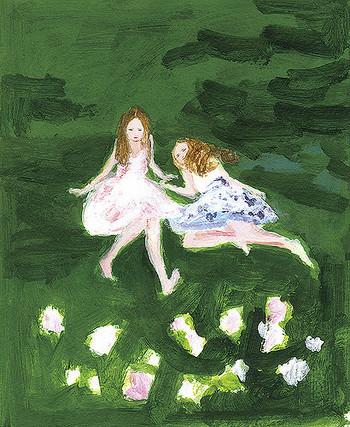 こちらは、文庫版の装丁画です。ちょっと物憂げそうな2人の少女が可愛らしくて印象的です。周りを取り巻くグリーンも見ていてとても心地いいですね。
