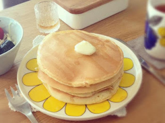 いつものパンケーキにも砂糖のかわりに甘麹を加えると、まろやかな甘みの優しい発酵食に。こんな使い方もできるんですね!