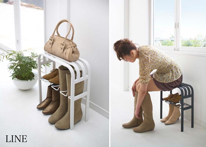 LINEのベンチシューズラックは、賃貸の狭い玄関でも邪魔にならない薄型のシューズラック。最大4足の靴を収納しつつ、ちょっと腰掛けたり、手荷物の一時置きもできるベンチの役割も備えているんです。