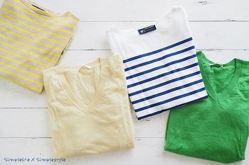 四季を感じる「色」があると、装いが新鮮に映ります。アイテムが少ないとベーシックなものに偏りやすくなりますが、そんなマンネリ解消にもなりますよ。