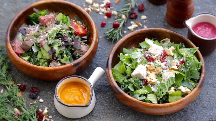 「健康や美」をテーマにしたサラダは、ヘルシーであるばかりでなく、見た目にも美しく美味しいと評判です。