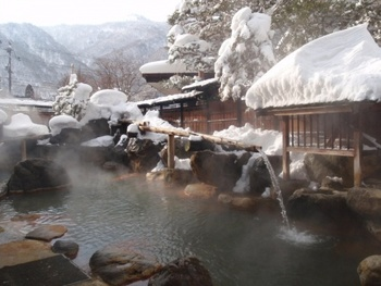 「平湯館 生粋源泉の宿」は大露天風呂の山伏の湯が人気。家族やカップルでゆっくりしたい方は、貸し切りが風呂からも雪見が出来るのでおすすめです。