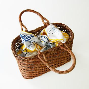 かごバッグのインナーバッグとして使ってもかわいいです!