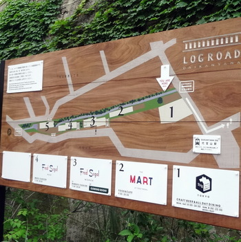 画像のマップのように、細長い敷地に5棟のスタイリッシュなコテージ風のお店が並んでいます。