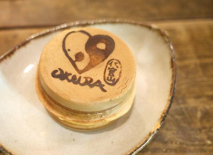 OKURA焼き(つぶあん・ブルーベリー)も人気。 OKURAの焼印がかわいいですね。お土産にも喜ばれそう♪