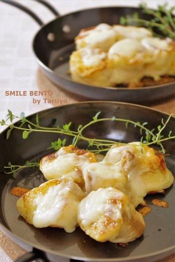 麩をフレンチトーストにしたアイデアアレンジ。チーズたっぷりなのにパンよりヘルシーだから罪悪感もありません!