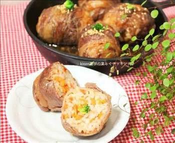ニンギンごはんを炊くところからおにぎりを焼くまでスキレット1つでできる、がっつり朝ごはんレシピです。男性にも喜ばれそう。