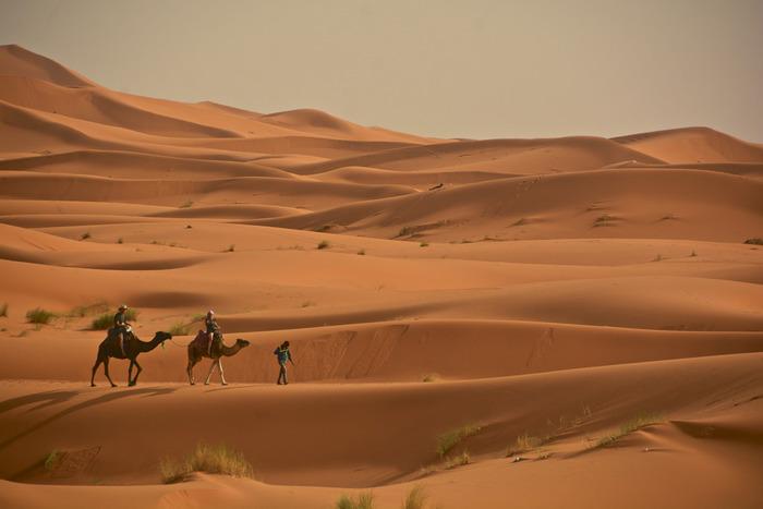 メルズーガは、サハラ砂漠にある小さなオアシスの村です。どこまでも広がる大砂丘は、大海原のように広大で、この世のものとは思えないほどの美しさです。
